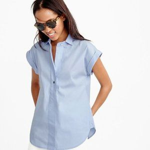 J Crew Popover Shirt in Oxford Blue Stretch Cotton
